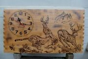 Pyrography Clock Wall Art Handmade Deer Stag Design Perfect Gift Idea Collector