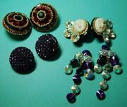 Lot Of Vintage Big Sparkly Clip On Earrings - 80's Costume Jewelry