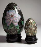 2 Beautiful Cloisonne Inlaid Eggs With Bases 4 1/2 And Raised Enamel 2 1/4 Usa