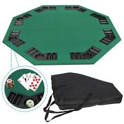 48 Folding Octagon Poker Card Game Table Top Cup Chip Holders Blackjack Party