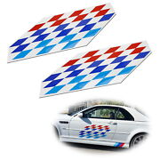 2 22x9 Iconic M Sport Flag Tri-color Decal Stickers For Bmw Side Doors Hood