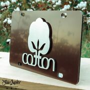 2d Brown Cotton License Plate Heavy Duty Brushed Aluminum Cotton Car Tag