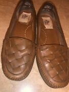Decoys By Auditions Tan Lt Brown Woven Leather Slip On Moccasins Loafers 6-6.5 W