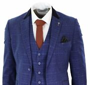 Mens Blue Tweed Check 3 Piece Suit Vintage Retro Classic Tailored Fit 1920and039s
