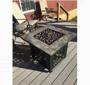 Propane Fire Pit Table Slate Top Outdoor Heater With Cover Steel Firebowl Black