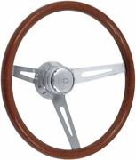 1957-1969 Light Wood Steering Wheel Kit Polished Hub With Chevrolet Bowtie