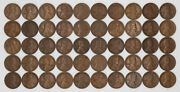 1917 D Lincoln Wheat Cent 1c Vf + Very Fine Plus Full Roll 50 Coins