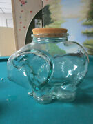 Large Glass Elephant Shape Bottle Container With Cork Stopper 11 X 9