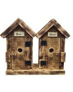 His And Hers Hanging Bird Houses In Burnt Pine Wood- Amish Made In The Usa