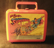 Superman Plastic Lunchbox With Thermos From 1986 By Aladdin