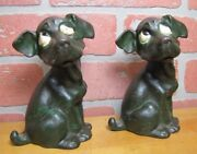 Antique Droopy Eye Dog Cast Iron Bookends Doorstops Decorative Art Statues