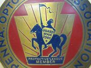Old Brass Penna Optometric Association Sign Aoa Guard Your Eyes Knight Horse