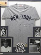 Phil Rizzuto Signed Inscription Ny Yankees Jersey Framed W/ Photos Steiner Coa