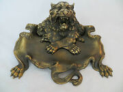 Bronze Roaring Lion Inkwell W Crossed Paws Clawed Pen Tray Signed Rare Reduced