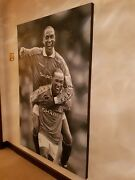 Manchester United Yorke And Cole Signed Large Glen Folan Original Oil Painting