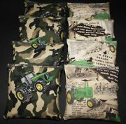 Camo Vintage Country With John Deere Fabric 8 Aca Regulation Corn Hole Game Bags
