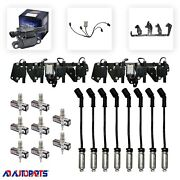 8 B058 Coils + 4303 Spark Plugs + Wires W/heat Shields + 2 Brackets And Harnesses
