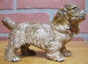 Old Cast Iron Cocker Spaniel Figural Dog Paperweight Childs Toy
