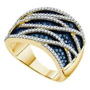 10kt Yellow Gold Round Blue Color Enhanced Diamond Striped Fashion Ring