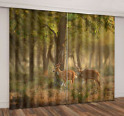 3d Blurred Forest Nature Animals Axis Deer Window Curtains Blockout Drape Fabric