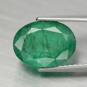 Certified 2.89ct 10.5x8mm Oval Natural Green Emerald Colombia