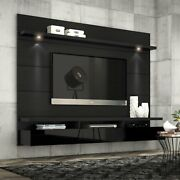 Floating Entertainment Center Tv Stand Wall Unit 85.6 W Led Light Drawer Black