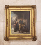 Antique 19th Century Oil Painting On Canvas Wood Carver By Gruber Germany
