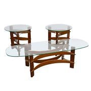 Mid Century Modern Curved Wood And Lucite Coffee And Side Table Set Pearsall Kagen