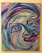 Surrealism Abstract Face Colorful Movement Expressionist 16x20 Acrylic On Canvas