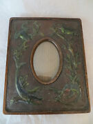 Antique Wooden Leather Embossed Picture Frame 1880's Frogs Fish - Unique Rare