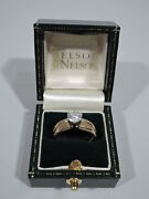 Antique Ring - Classic Engagement Wedding - American 14k Gold And Diamond