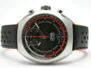 Oris Stainless Steel Mens Watch Black Dial With Orange Accent Style 7564
