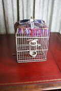 Antique Persian Bird Cage With Embroidered Shade Cover Feeder Brackets And Hook
