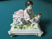 Volkstedt Germany Figural Lady With Angel And Butterfly 7