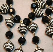 Vintage Gorgeous Jet Faceted Crystal Bead And Rhinestone Inset Bib Necklace