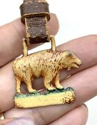 Vintage Pocket Watch Fob, Enameled Bear With Leather Strap