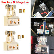 Pair Of 0/4/8 Awg Gauge Auto Car Positive And Negative Battery Terminal Clamp Gold