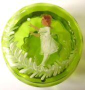 Antique Mary Gregory Style Green Glass Powder Jewelry Jar Box Girl Playing Xmas