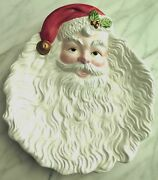 Santa Plate Fitz And Floyd Serving Platter Plate Colorful 9 X 8 Holiday