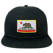 Oversize Xxl California State Flag Patch Flatbill Mesh Snapback Cap - Freeship