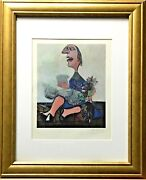 Pablo Picasso Man Helio-lithograph Hand Signed In Pencil Coa Gold Wood Framed