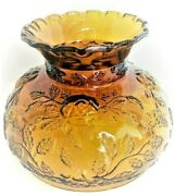 60's-70's Vintage Amber Glass Lamps Globe Chimney Shade Raised Floral