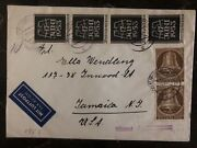 1939 Berlin Germany Airmail Cover To Jamaica Ny Usa Stamp Mi 110