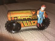 1930s Marx Tin Wind Up 8.5 Construction Tractor Works Great Extra Driver