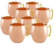 Moscow Mule Pure Solid Copper Handled Drinking Cups 16 Oz Mugs - Set Of 8
