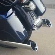 Dandd 4 Black Slip-on Mufflers Pair Chrome Fish Mouth Harley Touring 95-16