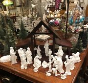 Lenox The Nativity Set 22 Porcelain Figures Holy Family W/ Creche With Boxes