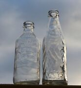 2 Vintage Ndnr Canadian Pepsi-cola Glass Soda Bottles 1960and039s-70and039s Free Shipping