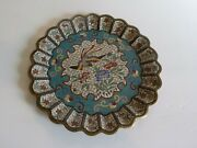 Unusual 19th C. Chinese Cloisonne 8.75 Cabinet Plate, Decorated Front And Back