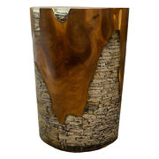 Round Cylinder End Side Table Night Stand Teak Wood Lucite Clear Rs11brclr-02